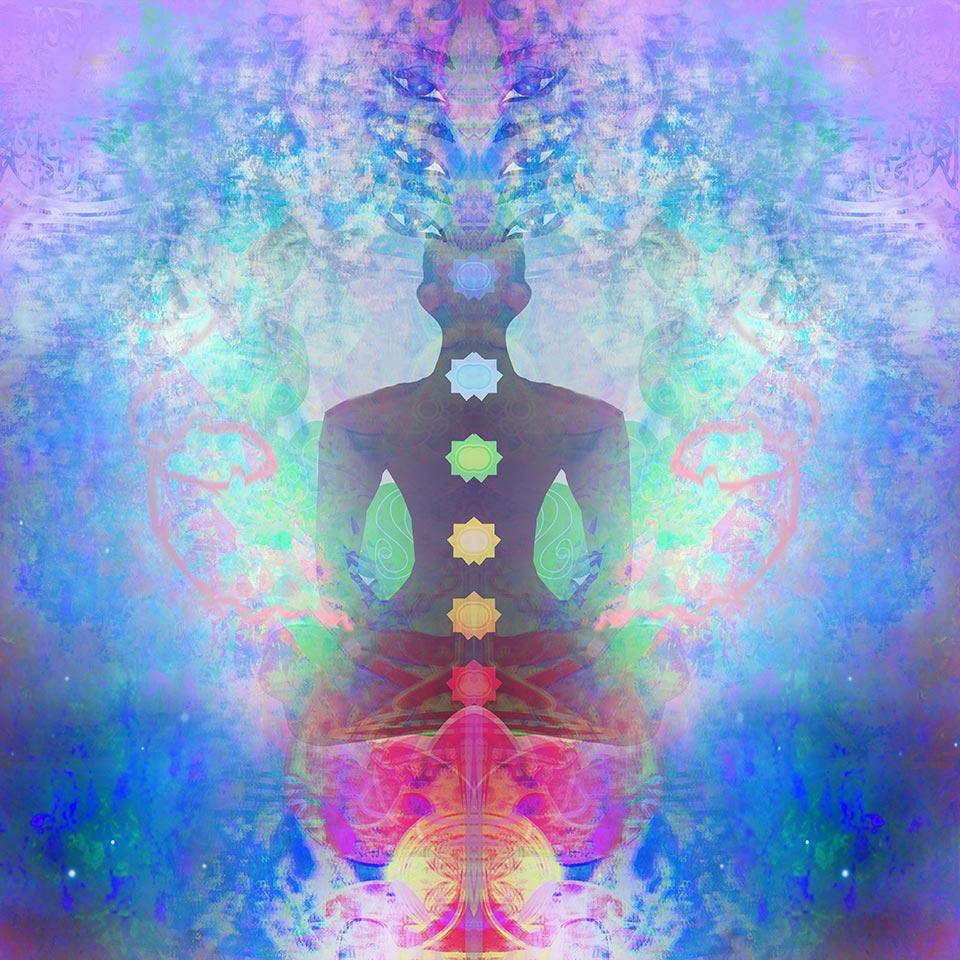 Yoga lotus pose - Padmasana with coloured chakra points