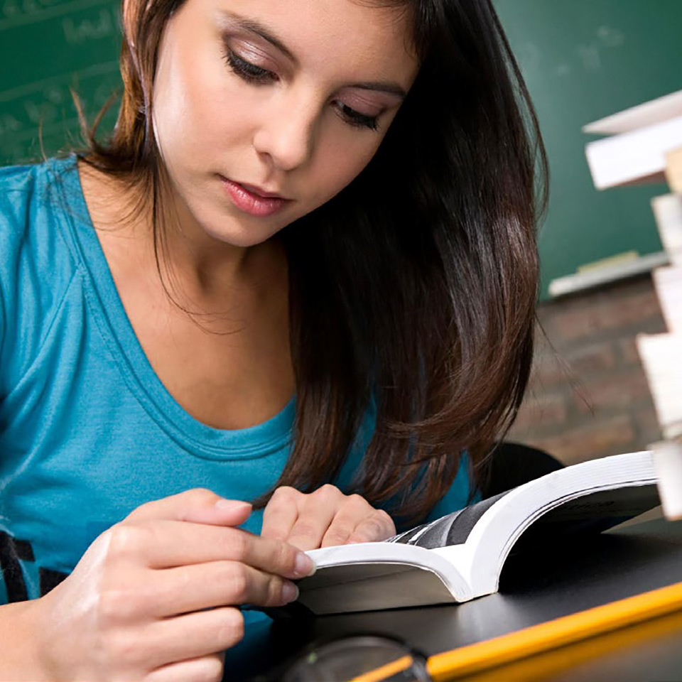 Girl studying course literature