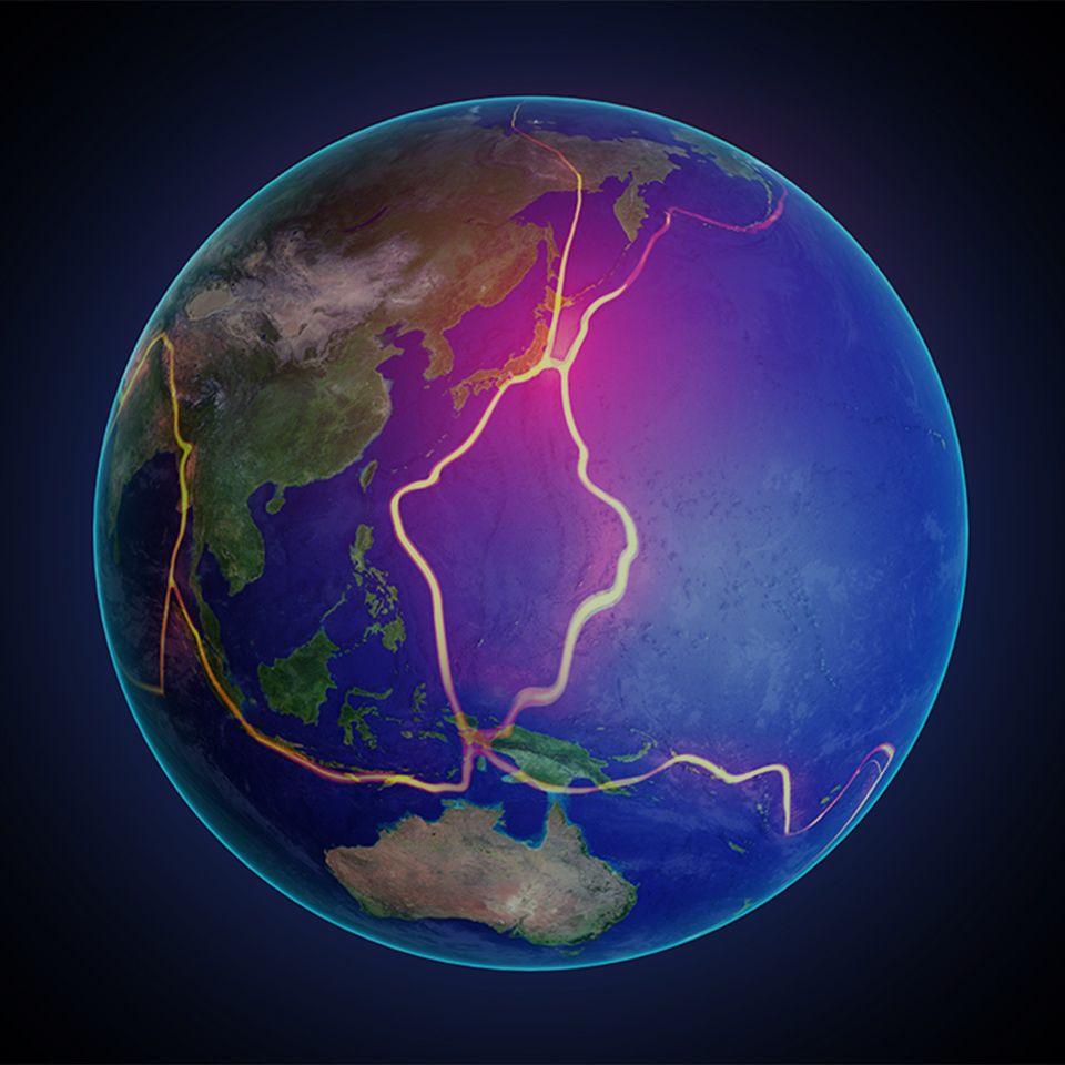 Earth's fault lines between tectonic plates in the East Asia region
