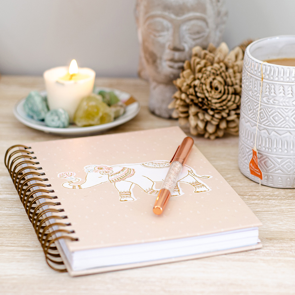 Notebook and pen atop a desk