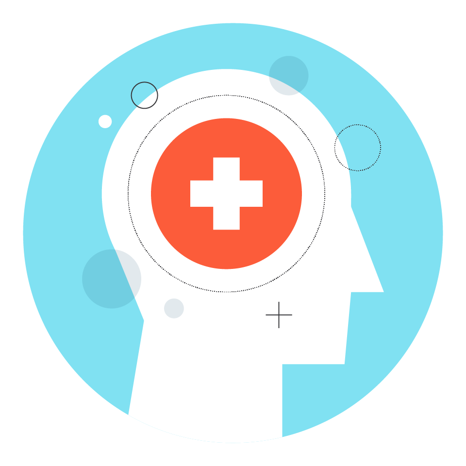 Illustration of a human head with a hospital icon over the brain