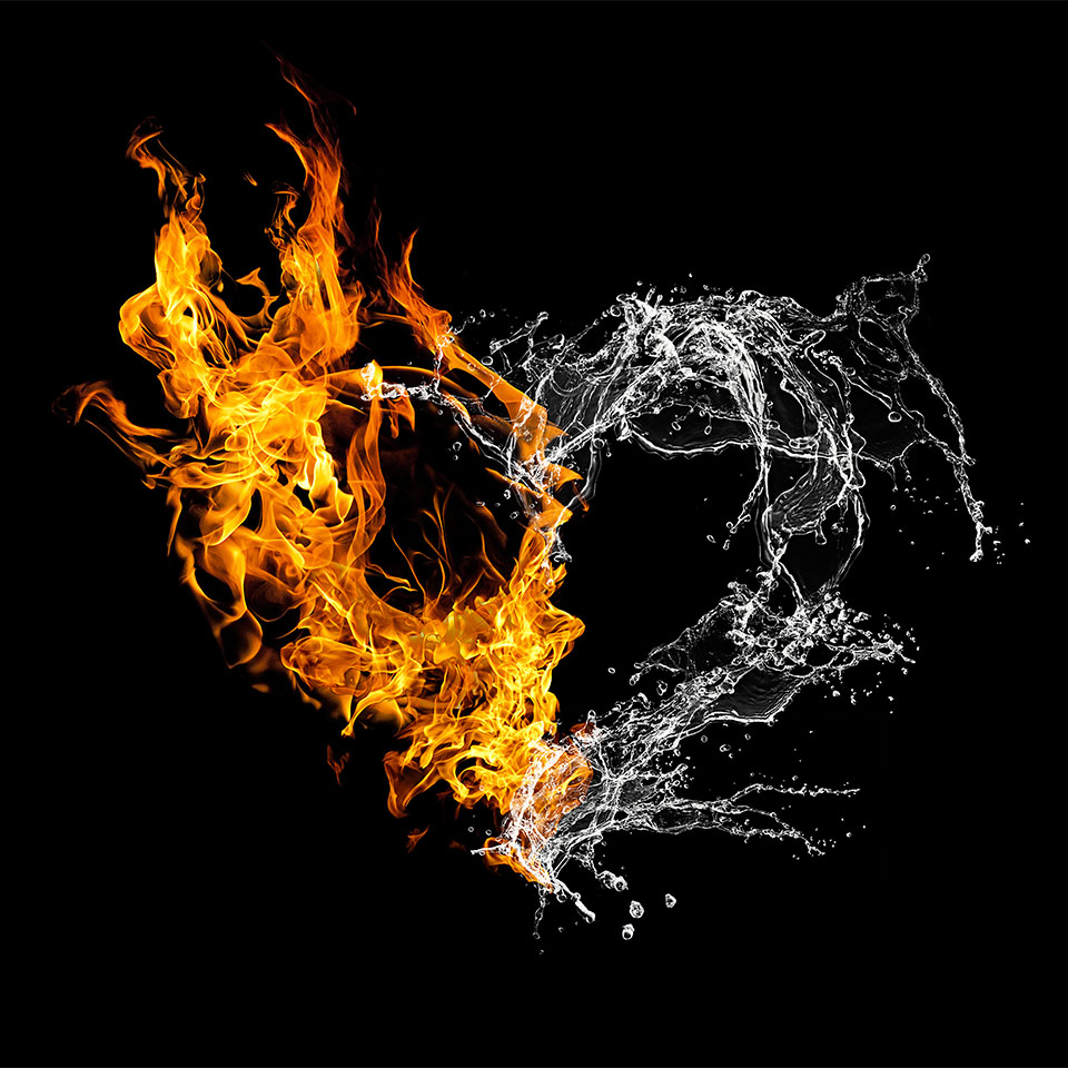 An illustration of a heart made up of fire and water