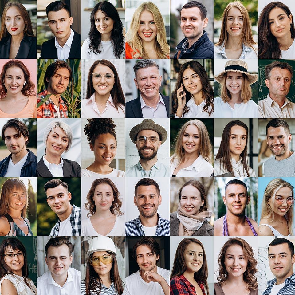 Portrait headshot photos of many people