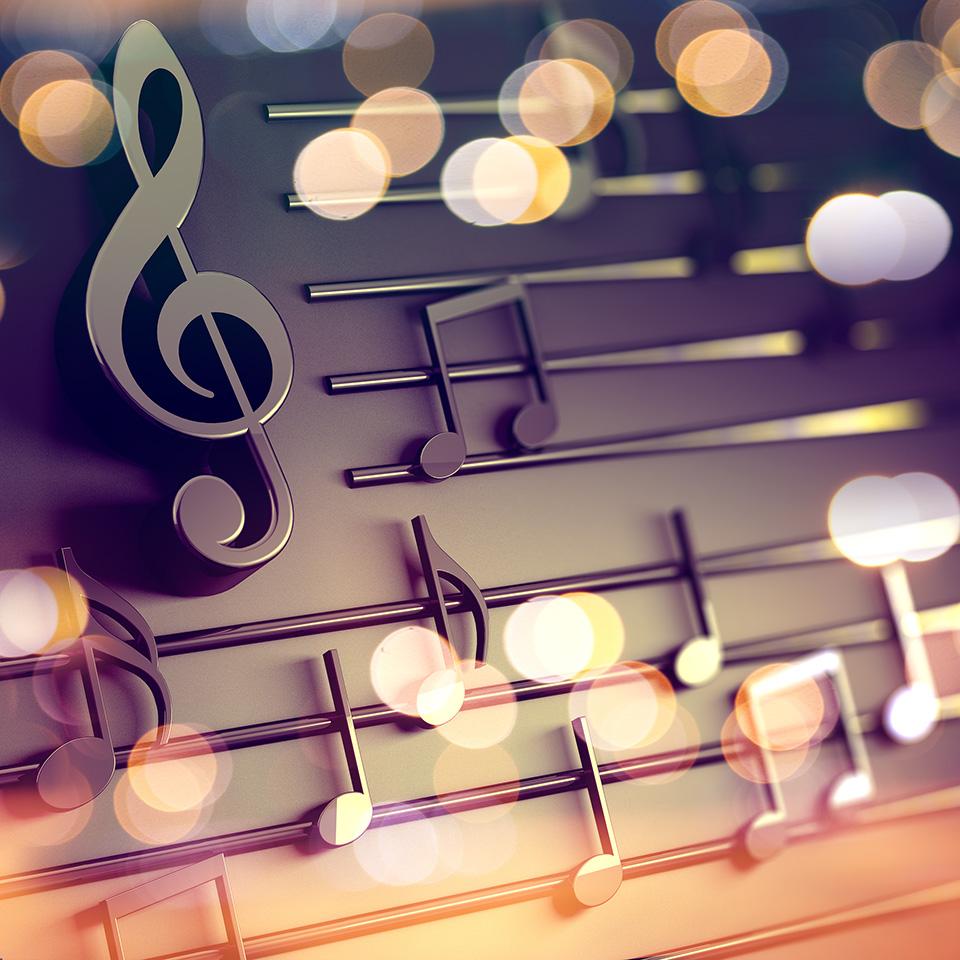 3d illustration of music sheet