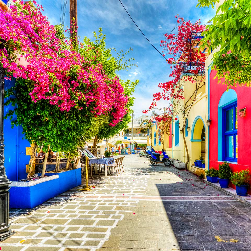 Beautiful street view in Kos Island, Greece