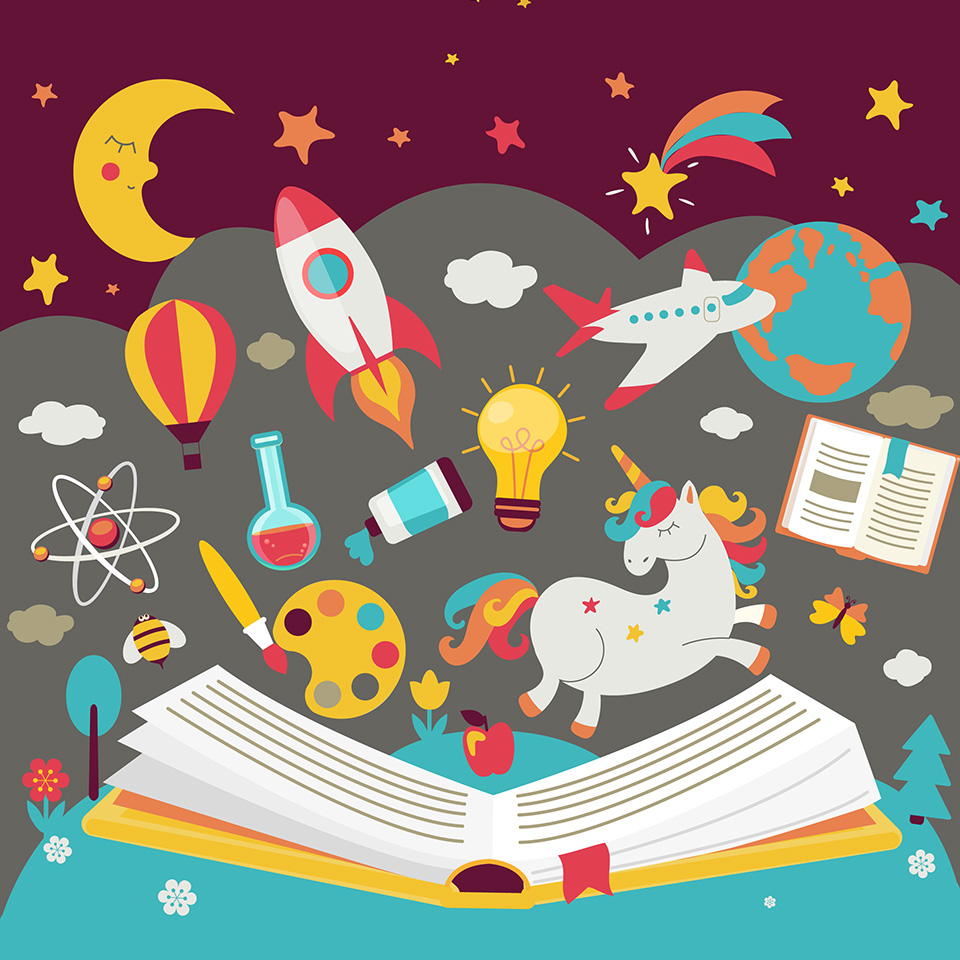 Illustration of an open book with various cartoon learning icons above it