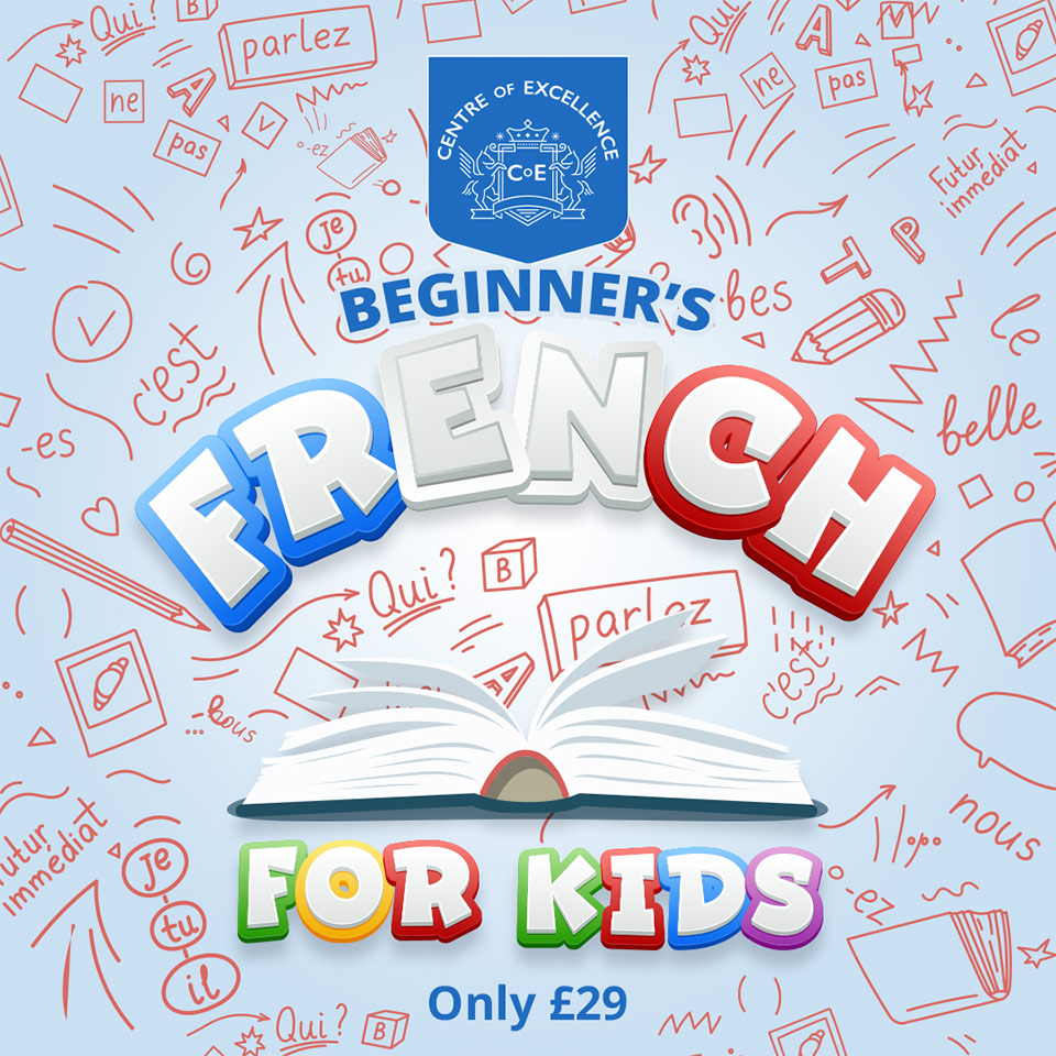 Image of various French phrases and the words 'Beginner's French For Kids Only £29'