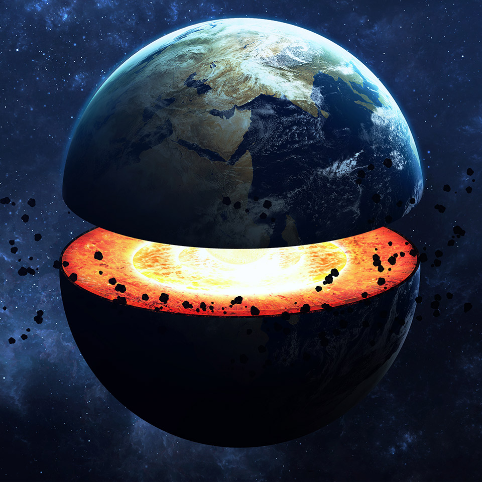 Illustration of the Earth split in half to expose its core