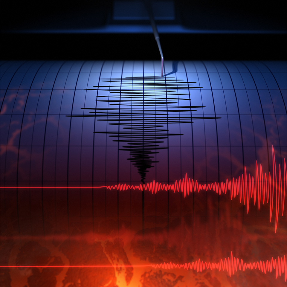 Seismograph taking a reading