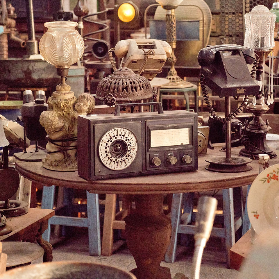 Antique street shop with old, vintage items in Bali