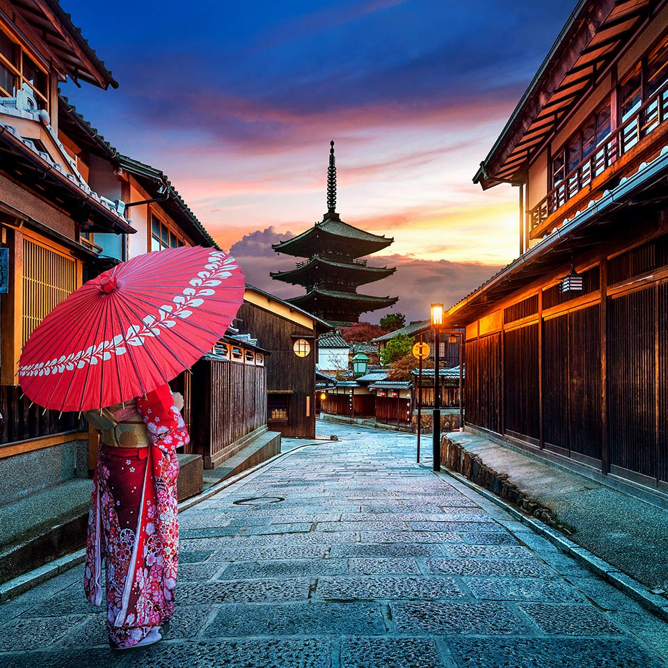 Woman wearing a traditional Japanese kimono at Yasaka Pagoda and Sannen Zaka Street in Kyoto, Japan