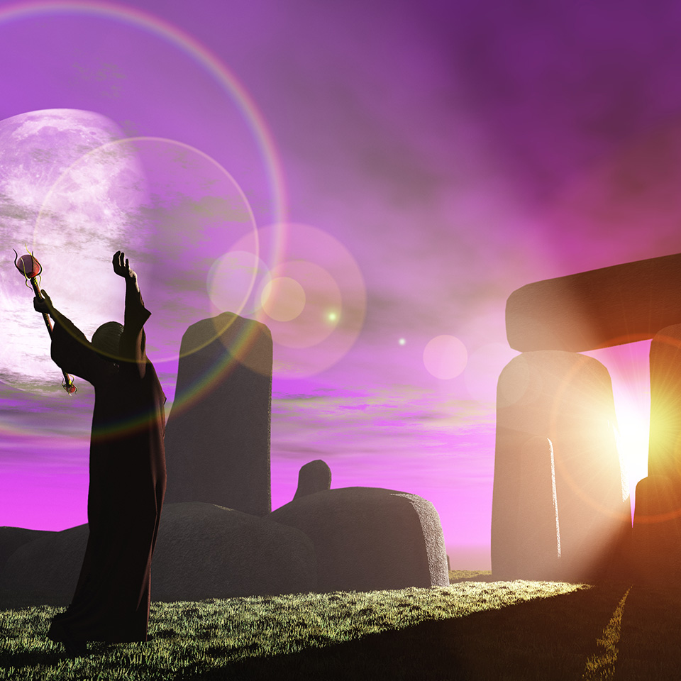 Fantasy render of Celtic druid bathing in sun rays shining through standing stones at Stonehenge