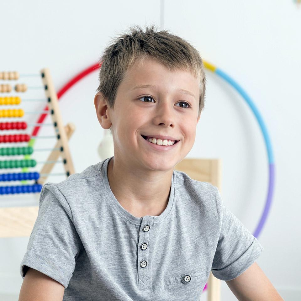 Smiling autistic boy
